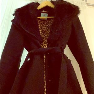 Black Coat w/Faux Fur Collar